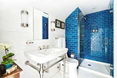 Adriatic Sea was one of our new colors that we introduced in early 2016 and it was a popular blue for the rest of the year. Here it is in classic 3x6 subway tile in this beautiful bathroom.