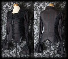 Goth Black Red Pinstripe Lace Up RAVEN Frill Sleeve Corset Shirt 8 10 Victorian - £36.00