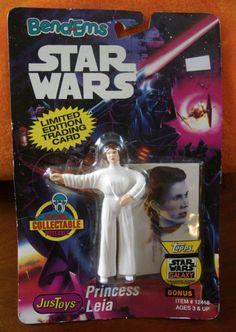 Figurine-STAR-WARS-vintage-1993-PRINCESS-LEIA-LTD-Edt-CARDS-Bend-Ems-JUSTOYS