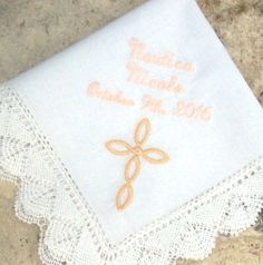 BAPTISM HANDKERCHIEF, Christening, Confirmation, Personalized, Embroidered,  Custom, Handmade Bobbin Lace, Baby Gift, Madonna Cotton 10x10