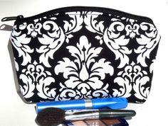 Black White Damask Bridesmaid Gift Makeup by nangatesdesigns