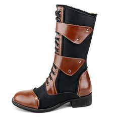 Mens Italian Brown Leather Goth Punk Cowboy Military High Boots SKU-1280074