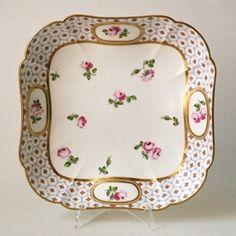 Tableware: A Sèvres Porcelain Square Dish, 1771 China Porcelain, Painted Porcelain, Plate Display, Romantic Roses, Vintage China, Arabesque, Fine China, Ceramic Pottery, Antiques