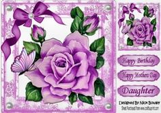 pretty painted big lilac rose  with pearls and butterflies 8x8 on Craftsuprint - View Now!