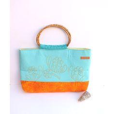 AQUA Cotton Tote hand embroidered turquoise,aqua blue,orange cotton... (48 CAD) ❤ liked on Polyvore featuring bags, handbags, tote bags, beach tote bags, orange tote, handbag tote, blue purse and man bag