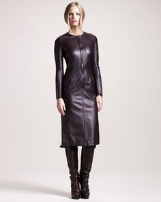 Belstaff Wigston Zip-Front Leather Dress in The Christmas Book from Neiman Marcus