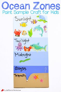 learning about the layers of the ocean paint sample craft for kids Kids Crafts Ocean Activities for Kids Kindergarten Science, Science Activities, Science Experiments, Preschool Ocean Activities, Vocabulary Activities, Science Ideas, Preschool Crafts, Layers Of The Ocean, Ocean Lesson Plans