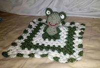 "NEW $20. Frog Amigurumi Lovie Blanket. HandCrafted 11 1/2"" x 11 1/2"" 100% Acrylic. Yarn by Simply Soft. All hand made with Love. Washable: delicate cycle. Dry: low heat. If prefer can mail it with S/H $5.00"