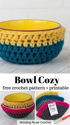 Quick and easy bozy cozy pattern for two different size bowl. Free pattern and video tutorial by Winding Road Crochet. Make a quick and easy crochet bowl cozy with this free crochet pattern by Winding Road Crochet. Crochet Bowl, Quick Crochet, Learn To Crochet, Crochet Yarn, Single Crochet, Easy Things To Crochet, Crochet Hot Pads, Crochet Beanie, Crochet Potholders