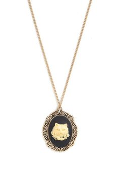 Make It Countenance Necklace by And Mary - Cream, Black, Gold, Print with Animals, French / Victorian, Cats, Better, International Designer,...
