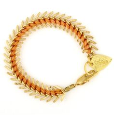 Scale bracelet in gold and tangerine| Lizzie Fortunato