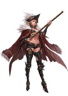 ArtStation - Twins shooter, Junq Jeon Fantasy Armor, Anime Fantasy, Fantasy Girl, Dark Fantasy, Female Character Concept, Fantasy Character Design, Character Inspiration, Character Art, Dungeons And Dragons Characters