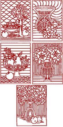 Advanced Embroidery Designs - Redwork Flower Medallion Set.