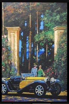 Auto Amp Divers Vehicules En Peintures De Barry Rowe Car Themes, Car Painting, Retro Art, Bugatti, Antique Cars, Automobile, The Past, Wheels, Paintings