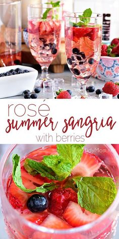 quick and simple Rosé Summer Sangria is perfect for cooling off in the summer heat. Wow your guests by serving sangria made with fresh berries, rosé wine, and kicked up with white rum at your next party or BBQ. Print full recipe at Sangria Rosé, Rose Sangria, Strawberry Sangria, White Wine Sangria, Strawberry Desserts, Champagne Sangria, White Peach Sangria, Prosecco Cocktails, White Wines