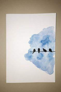 Birds on a wire card, bird greeting card, hand-painted card .- Birds on a wire card Bird greeting card Hand painted card Watercolor card Bird silhouette water Watercolor Cards, Watercolour Painting, Painting & Drawing, Watercolor Ideas, Watercolors, Watercolor Techniques, Tattoo Watercolor, Abstract Watercolor, Watercolor Illustration