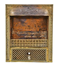 original late 19th or early 20th century antique american ornamental stamped or pressed steel interior residential fireplace gas grate with overlapping fluted torches - Products