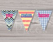Custom Party Banner,  Personalized Party Decorations, Your Own Massage PDF file DIY Printables - additional digital items optional