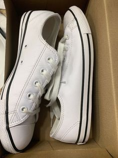 reputable site 12313 ef17a Converse Womens Chuck Taylor Dainty Ox White Leather Trainers  fashion   clothing  shoes