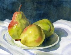 Title --Three Green Pears Medium-- Painting - Watercolor On Paper Artist -- Sharon Freeman