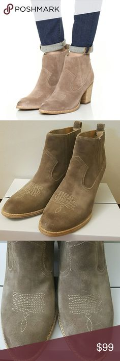 """NWT Dolce Vita Jones Chelsea Bootie NWT Dolce Vita Jones Chelsea Bootie in dark taupe suede.  Size 9.5.  Western style heeled bootie.  Almond toe, 3"""" heel, topstitch detailed camp, pull on style. Dolce Vita Shoes Ankle Boots & Booties"""