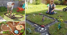 Kreatívny DIY nápad a návod urob si sám ako prinútiť deti, aby trávili viac času vonku! Pretekárska dráha pre deti na záhrade sa o to postará! Postup