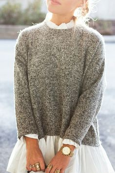Faux Twinset Stand Neck Long Sleeve Jumper