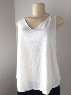 J. Jill Women's XL White Love Linen Tank Top 100% Linen Casual Layering Piece  #JJill #TankCami #Casual