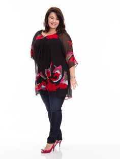Plus size Waves Chiffon Tunic by Silk Threads. LOVE the colours and sequin details! $119.99
