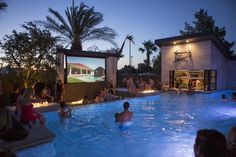 It's pool time! I love entertaining our guests with our big screen tv as they enjoy a night swim.