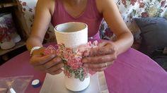 Vaso decorada com barbante e decoupage centro de mesa - Diy com Bia Arte