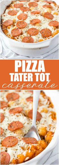 Pizza Tater Tot Casserole - This comforting casserole has three layers of goodness. Use your favourite pizza toppings to create the perfect family meal.