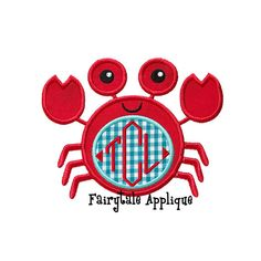 Digitial Machine Embroidery Design   Crab with Monogram Patch