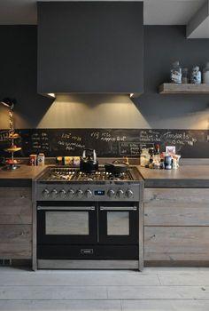 Beschrijfbare keukenwand. Druk gezicht maar wel handig idee. Misschien een van de hoge kasten in de keuken krijtborddeur geven?