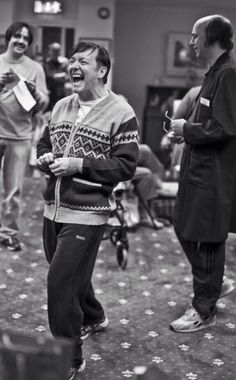 Ricky Gervais ruining another take laughing on the set of Derek (Karl as Dougie at his side).
