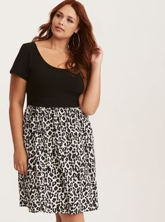 Black & White Leopard Print Knit to Woven Dress, NEW FLARE LEOPARD