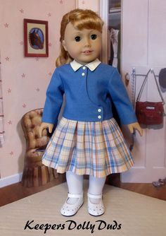 OutFit~ Clothes Made to fit 18 American Girl Doll, A KeepersDollyDuds Original Sewing Doll Clothes, American Doll Clothes, Girl Doll Clothes, Doll Clothes Patterns, Clothing Patterns, Girl Dolls, Ag Dolls, Babies Clothes, Doll Patterns