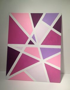 canvas art 20 Ways to Upgrade Your Childhood Bedroom Pink Canvas Art, Simple Canvas Paintings, Easy Canvas Art, Small Canvas Art, Easy Canvas Painting, Cute Paintings, Diy Canvas, Diy Painting, Painting With Tape