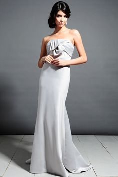 Strapless trumpet / mermaid with bow satin bridesmaid dress @Anna Musselwhite (like this style!) :)