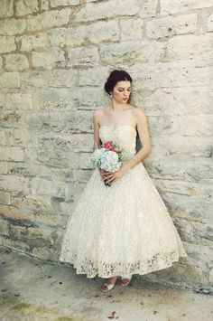 1950s Tea Length Wedding Dress / Vintage Antique Ivory Lace. $425.00, via Etsy.