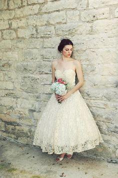 1950s Tea Length Wedding Dress / Vintage Antique Ivory Lace. $425.00, via Etsy.