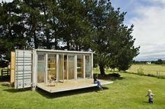 Port-a-Bach, a shipping container cabin by Bonnifait + Giesen | www.facebook.com/SmallHouseBliss
