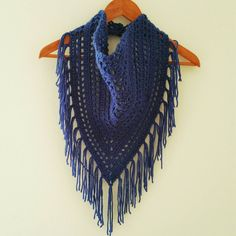 A personal favorite from my Etsy shop https://www.etsy.com/listing/497906253/blue-fringe-scarf-triangle-scarf-crochet