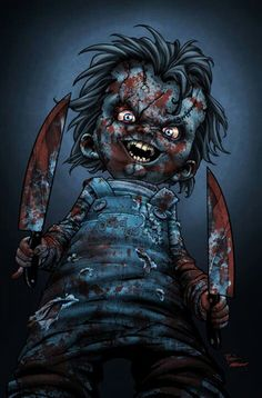 Chucky's Baaaaaack by titaniumgorilla on DeviantArt two bloody knives, , creepy doll monster comes to life murder's Chucky Movies, Horror Movie Costumes, Horror Movie Characters, Best Horror Movies, Iconic Movies, Horror Films, Scary Movies, Awesome Movies, Horror Villains, Chucky Movies