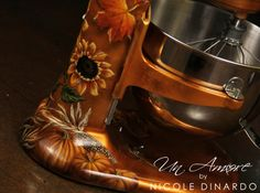 Custom Painted fall themed KitchenAid mixer by Nicole Dinardo of Un Amore INC. Pumpkins, indian corn, fall leaves