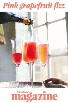 Get the bubbles flowing with our cocktail recipe for pink grapefruit fizz from food writers Livvy Potts and Katy Young Steak And Chips, Bubble Drink, Slow Roast Lamb, Salted Caramel Brownies, Elegant Dinner Party, Prosecco Cocktails, Party Food And Drinks, Valentines Food, Pink Grapefruit