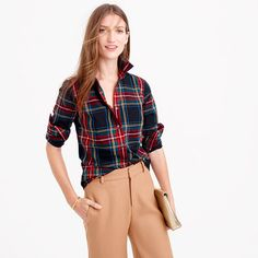 Our perfect shirt features precisely placed darts for a slimming, waist-defining fit that's a bit more tailored than our boy shirt. This one is crafted in seasonally appropriate tartan, so it's the like the spiked egg nog of shirts. <ul><li>Cotton.</li><li>Long roll-up sleeves.</li><li>Button placket.</li><li>Machine wash.</li><li>Import.</li><li>Online only.</li></ul>