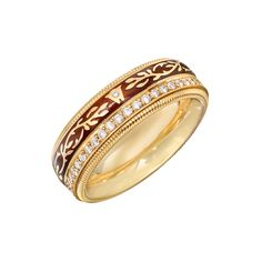 Wellendorff Mocha Diamond & Enamel Spinning Band Ring