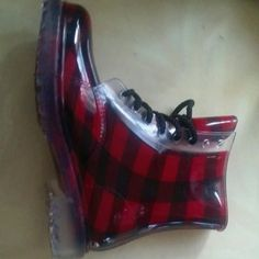 Boots Jelly Plaid Boots. Will provide more pictures just ask, Only wore once. dirty laundry  Shoes Winter & Rain Boots