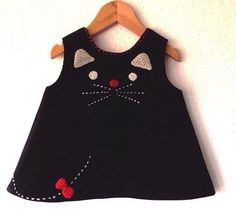 cat dress 03 to12months baby black dress curdoroy baby by pipocass